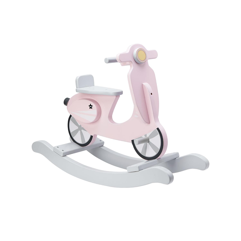 Hojdací skúter drevený Pink White