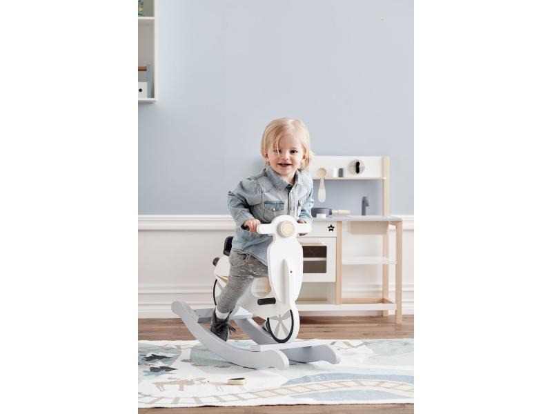 Houpací skútr dřevěný Grey White
