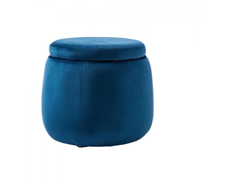 Úložný taburet kulatý Velvet Blue