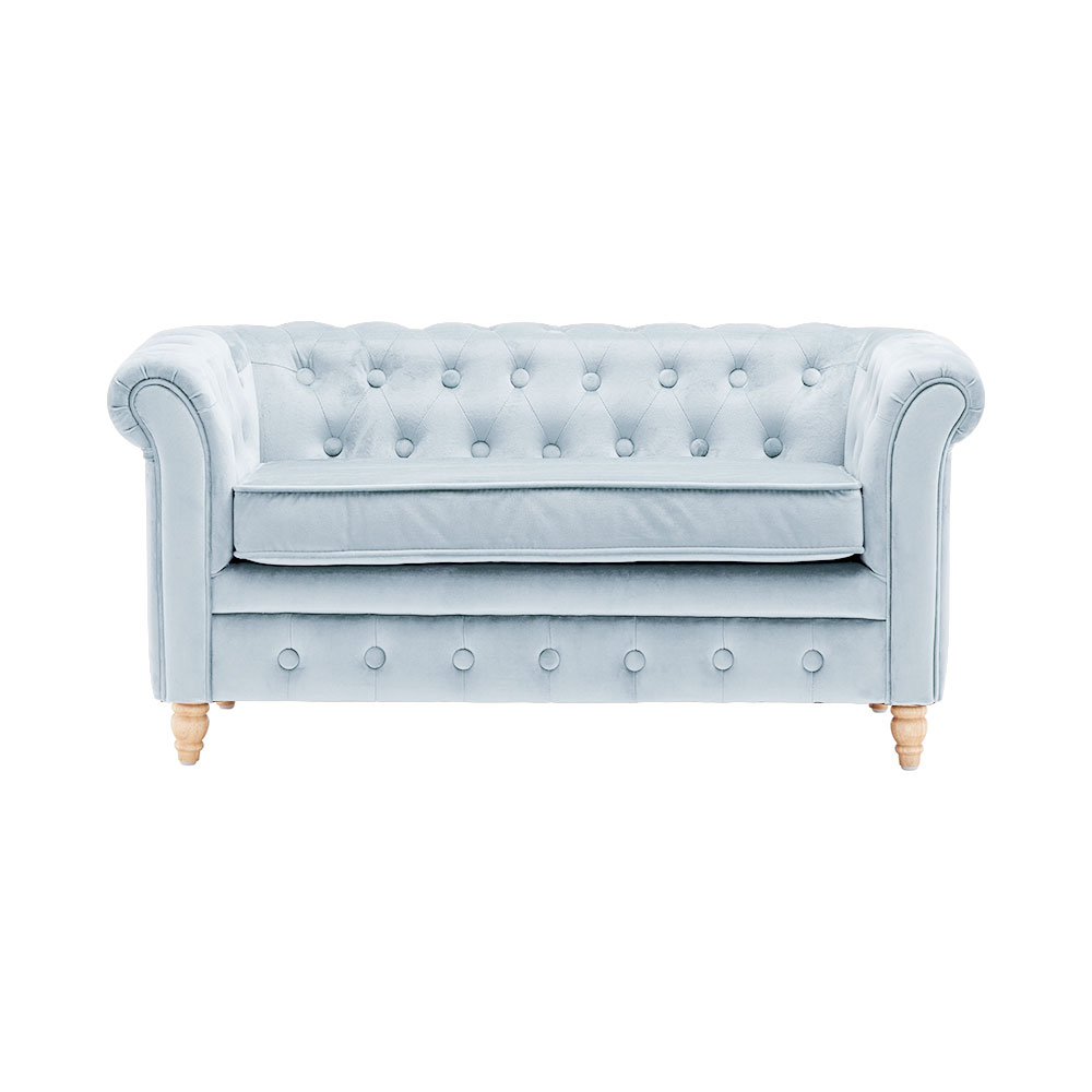 Pohovka Chesterfield Velvet Light Blue