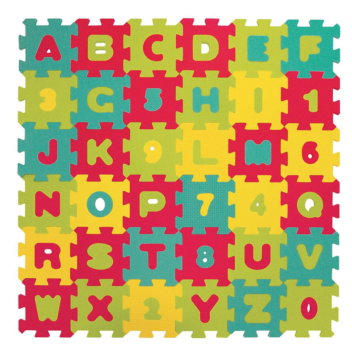 Puzzle penové 90x90cm písmená a čísla