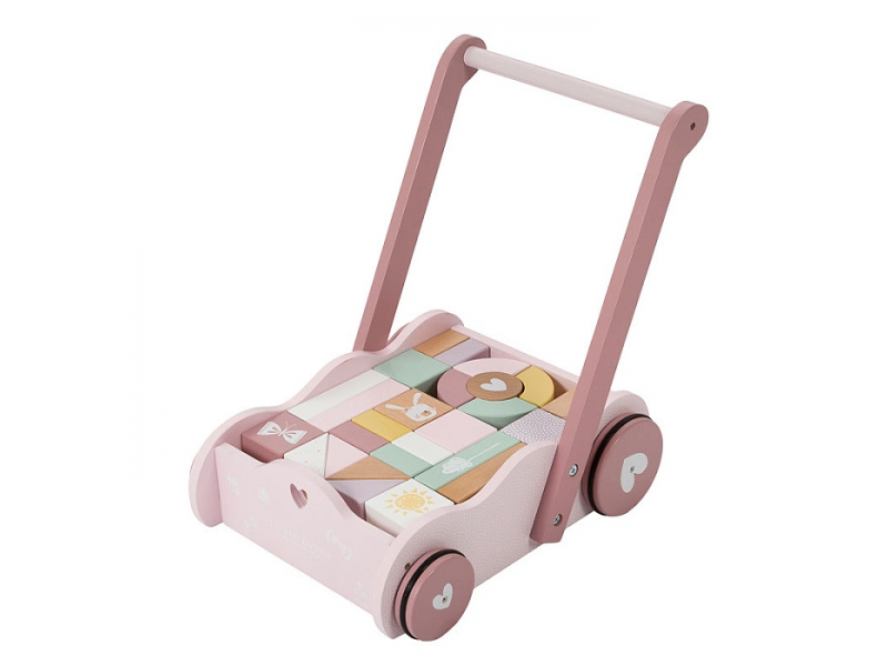 Vozíček s kockami pink