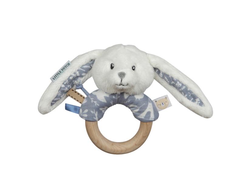 Hrkajúci zajačik s dreveným krúžkom BLUE
