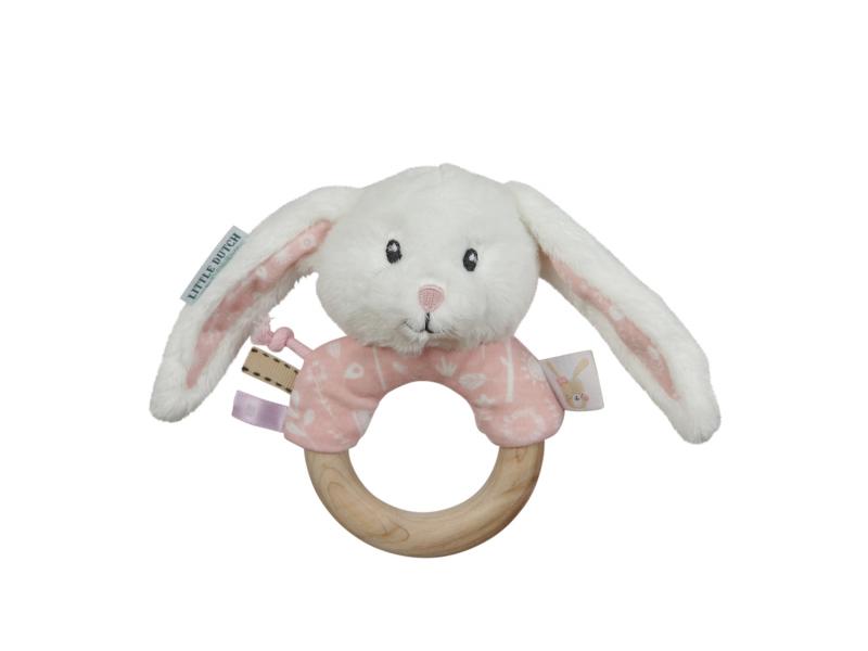 Hrkajúci zajačik s dreveným krúžkom PINK