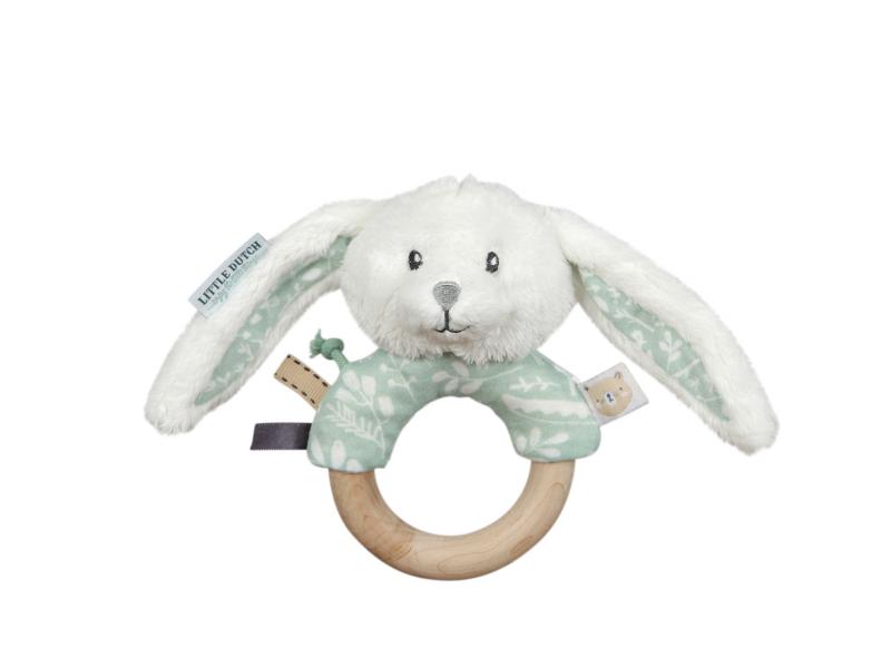 Hrkajúci zajačik s dreveným krúžkom MINT