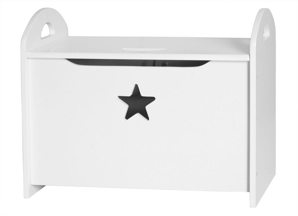 Box na hračky dřevěný Star White