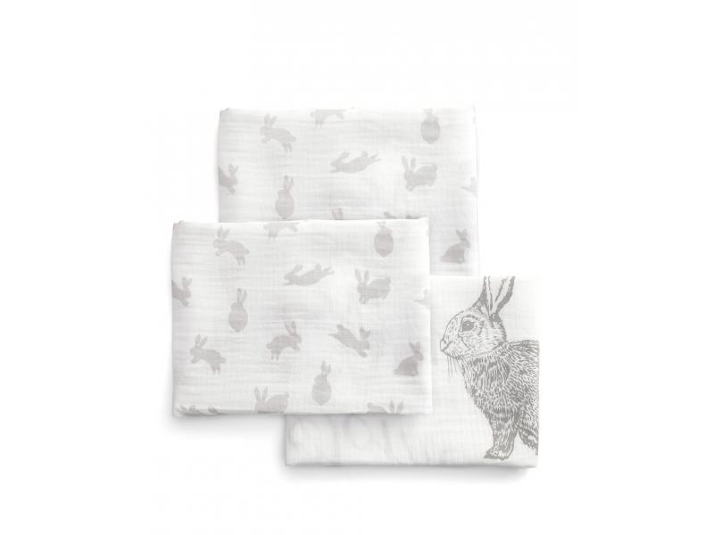 Mušelínové plienky veľké 3 ks králici