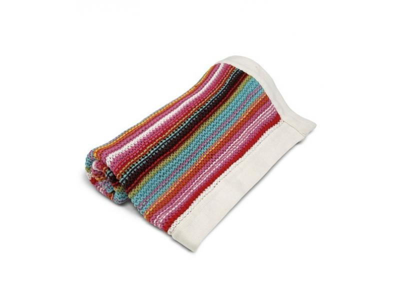 Pletená deka pestré proužky