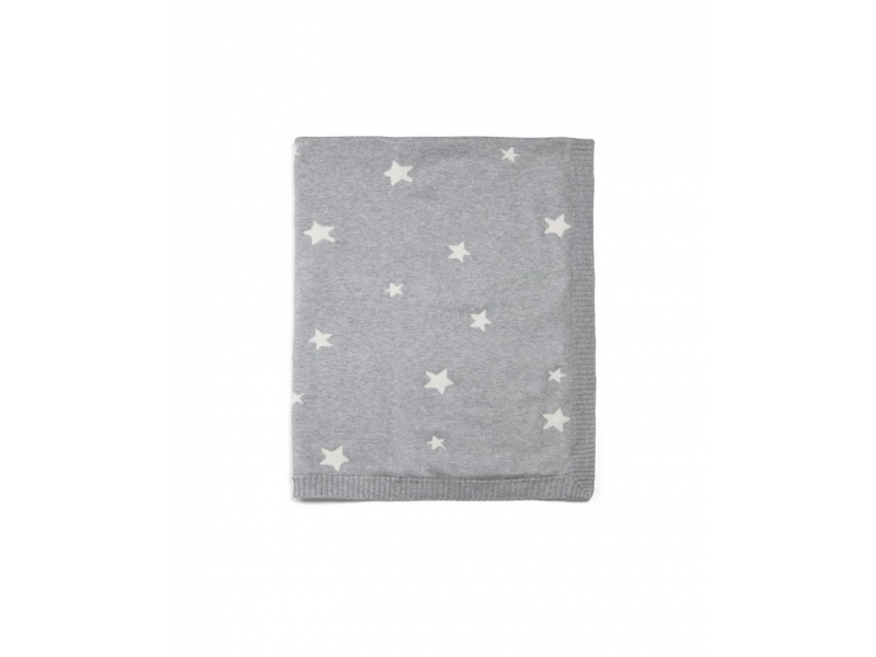 Mamas & Papas Pletená deka hviezdy šedá