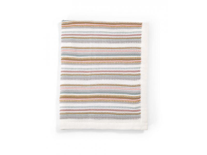 Pletená deka bílá pastelové proužky