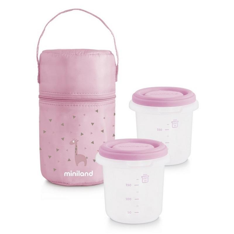 Termoizolačné puzdro + tégliky na jedlo Pink 2ks