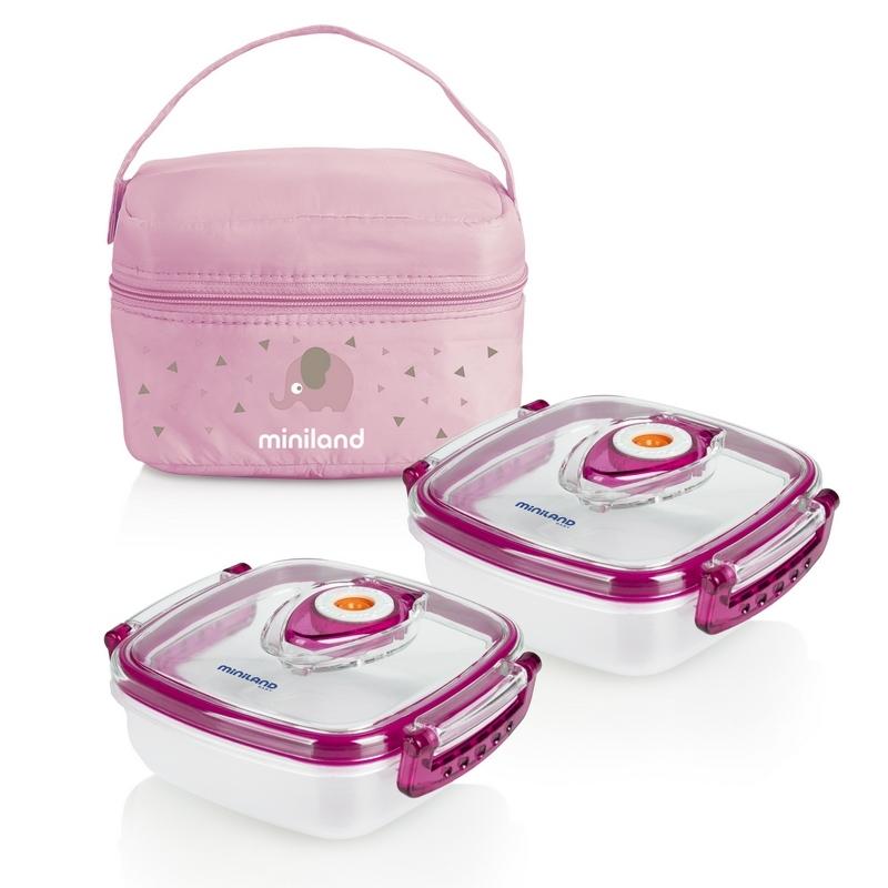 Termoizolačné puzdro + 2 hermetické misky na jedlo Pink