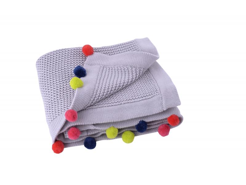 Kikadu Pletená deka s brmbolcami