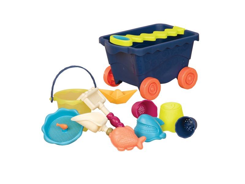 Vozík s hračkami na písek modrý
