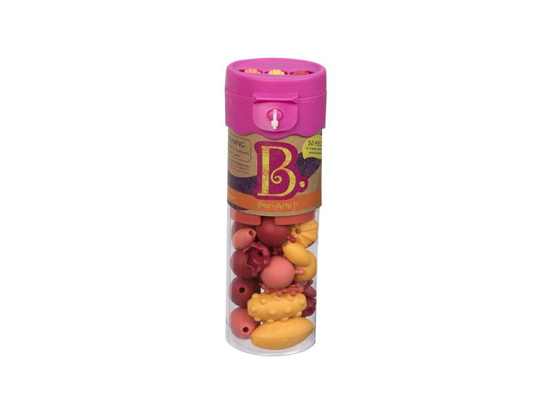 B-Toys Spojovací korále a tvary Pop Arty 50 ks červené/oranžové