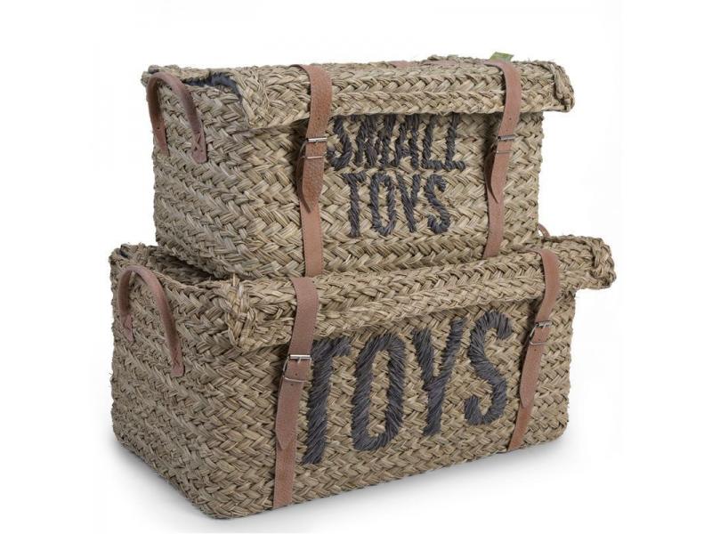 Slaměné koše na hračky 2 ks