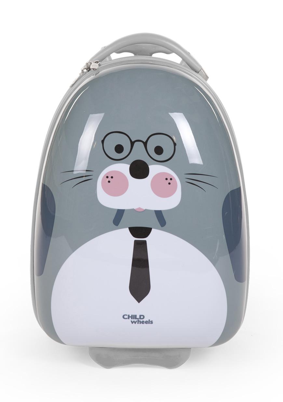 Dětský pojízdný kufr Mrož Grey