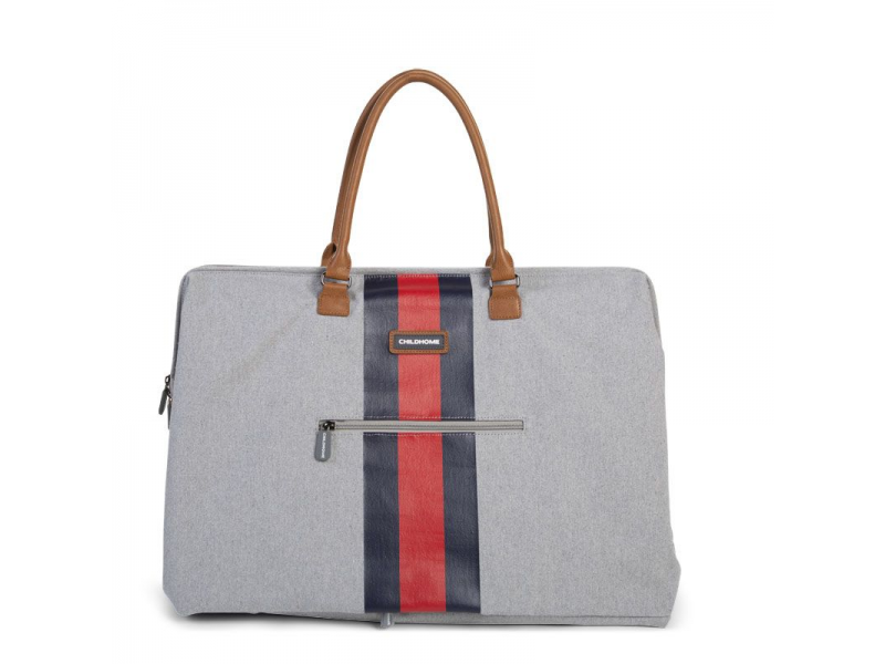 Childhome Přebalovací taška Mommy Bag Grey Stripes Red/Blue