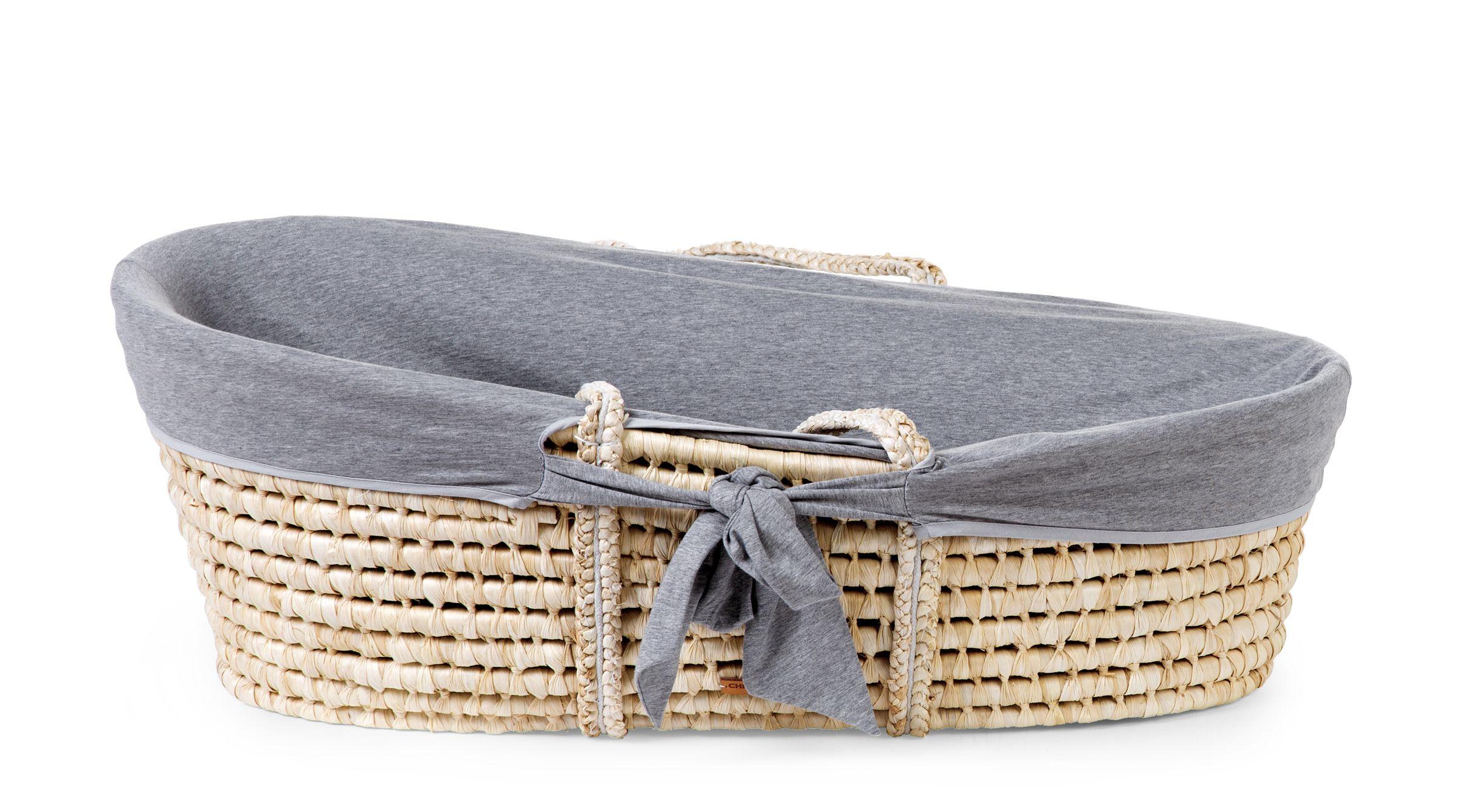 Košík pro miminko Natural + matrace + potah Jersey Grey