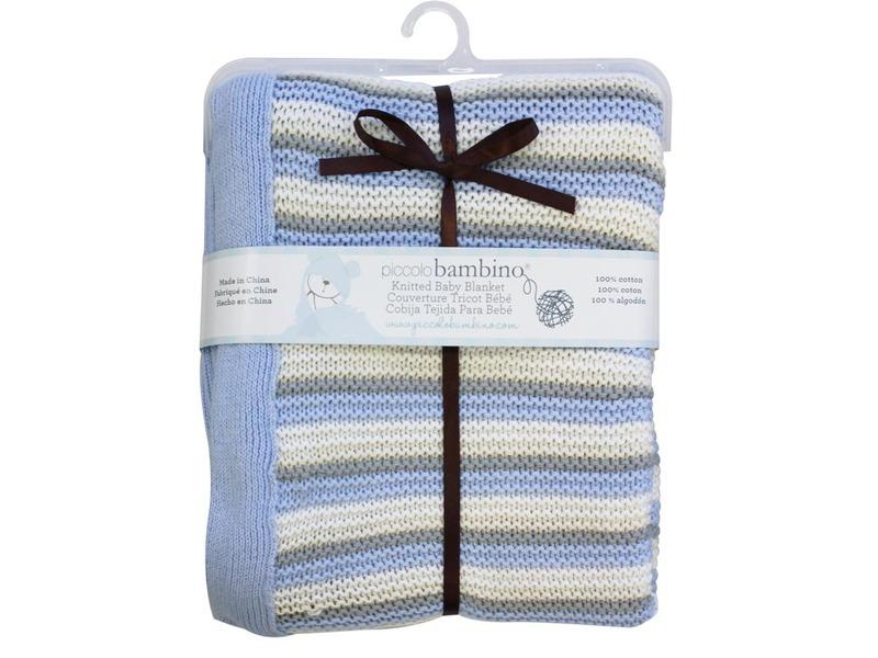 Pletená deka 76x91 cm pruhovaná modrá