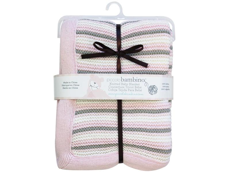 Pletená deka 76x91 cm pruhovaná růžová