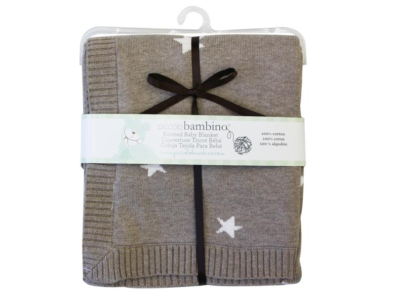 Pletená deka hvězdičky 76x76 cm hnědá