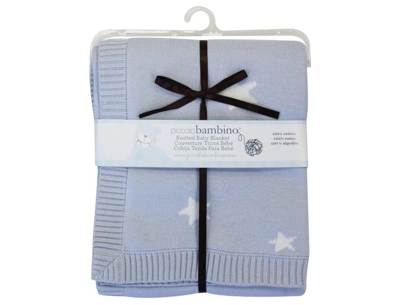 Pletená deka hvězdičky 76x76 cm modrá