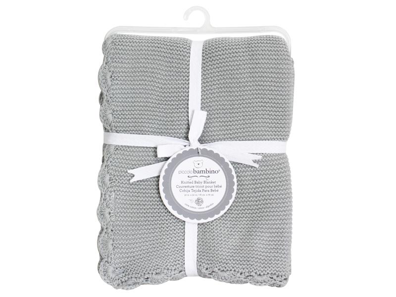 Pletená deka vroubkovaná 76x76 cm šedá