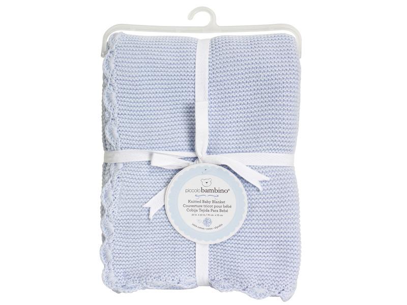 Pletená deka vroubkovaná 76x76 cm modrá