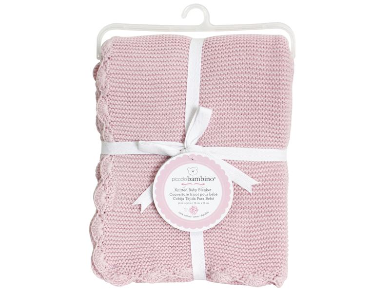 Pletená deka vroubkovaná 76x76 cm růžová