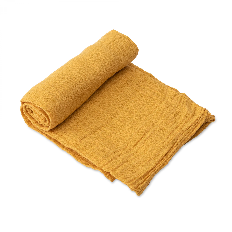 Mušelínová zavinovacia plienka 120x120cm Mustard